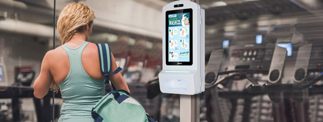 "hand sanitizer kiosk 15"" gym"